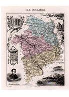Carte Du Département Du Cher, Dressée Par Vuillemin. Atlas Migeon 1874-76 - Carte Geographique