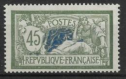 FRANCE MERSON 45c VERT & BLEU N° 143 VARIETE CENTRE DOUBLE NEUF GOMME PARTIELLE - 1900-27 Merson