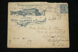 Lettre Illustrée Italie Hotel Terminus § Espagne Domodossola Diligences Simplon Louis Barbitta 1904 Vers Usa - 1900-44 Vittorio Emanuele III