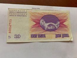 Bosnia 10 Dinara Circulated  Banknote 1992 #12 - Bosnië En Herzegovina