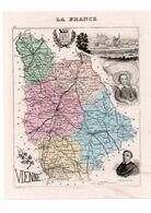 Carte Du Département De La Vienne, Dressée Par Vuillemin. Atlas Migeon 1874-76 - Carte Geographique
