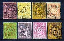 FRANCE - Yv. Nr 91/94 + 96/99 - Sage - Gest./obl. - Cote 110,00 € - 1876-1898 Sage (Type II)