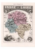Carte Du Département De L'Indre Et Loire, Dressée Par Vuillemin. Atlas Migeon 1874-76 - Carte Geographique