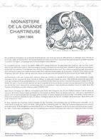 Monastère De La Grande Chartreuse  Feuillet Explicatif Avec Cachet Et Timbre 1er Jour - Documenti Della Posta