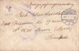 21180# DEPOT PRISONNIER DE GUERRE NEVERS NIEVRE LETTRE Obl HOHENLIMBURG 1917 CENSURE ALLEMANDE - Marcophilie (Lettres)