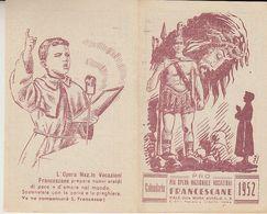 1952 CALENDARIETTO TASCABILE PRO OPERA PIA VOCAZIONI FRANCESCANE - Calendriers