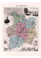 Carte Du Département De L'Ille Et Vilaine, Dressée Par Vuillemin. Atlas Migeon 1874-76. - Carte Geographique
