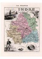 Carte Du Département De L'Indre, Dressée Par Vuillemin. Atlas Migeon 1874-76. - Carte Geographique