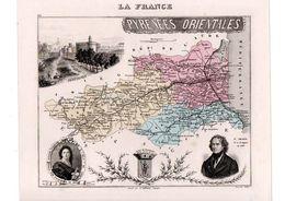 Carte Du Département Des Pyrénées Orientales, Dressée Par Vuillemin. Atlas Migeon 1874-76. - Carte Geographique