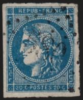 N°45C, Cérès Bordeaux 1870, 20c Bleu, Type II Report 3, Oblitéré - TB - 1870 Emission De Bordeaux