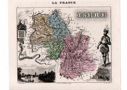 Carte Du Département De L'Isère, Dressée Par Vuillemin. Atlas Migeon 1874-76. - Carte Geographique