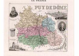 Carte Du Département Du Puy De Dôme, Dressée Par Vuillemin. Atlas Migeon 1874-76. - Carte Geographique