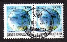 ESPAGNE 2009 OBJETIVOS DE DESARROLO DEL MILENIO EN BANDE DE 2  OBLITÉRÉS - 1931-Heute: 2. Rep. - ... Juan Carlos I