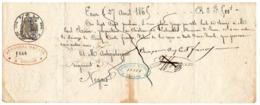 EAUZE (Gers) : Lettre De Change, 1865, Clairin Au Château De LABARTHE / Artiguelongue Négociant à Nogaro, Entier Fiscal. - Bills Of Exchange