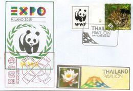 THAILANDE, Lettre Avec Timbre Chat Marblé WWF De Thailande,avec Tampons Officiels EXPO MILANO 2015 Et Pavillon Thaïlande - Felini