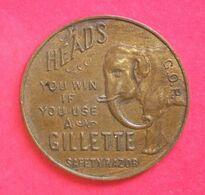 Jeton Publicité Rasoir Gillette Avec Eléphant Advertising Token Safety Rasor Diam 3.2 Cms Poids 11 Gr Cuivre Hairdresser - Profesionales/De Sociedad