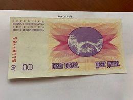 Bosnia 10 Dinara Circulated  Banknote 1992 #15 - Bosnië En Herzegovina