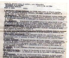 C14 1944 COMMANDEMENT MILITAIRE DE LA MAYENNE A LAVAL Concerne FFI ORGANISATION PAYE HABILLEMENT ETC - Marcophilie (Lettres)