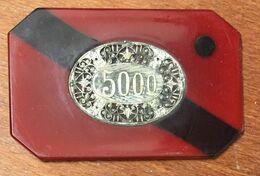 1 PLAQUE JETON DE CASINO 5000 FRANCS AVEC INCRUSTATION MÉTALIQUE CHIP TOKEN COIN - Casino