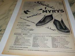 ANCIENNE PUBLICITE ASSURANCE CONTRE LE FROID  MYRYS  1958 - Other