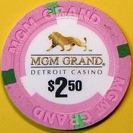 $2.50 Casino Chip. MGM Grand, Detroit, MI. N62. - Casino
