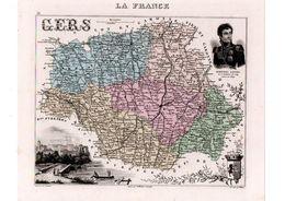 Carte Du Département Du Gers, Dressée Par Vuillemin. Atlas Migeon 1874-76. - Carte Geographique