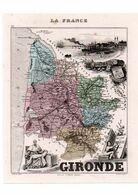 Carte Du Département De La Gironde, Dressée Par Vuillemin. Atlas Migeon 1874-76. - Carte Geographique