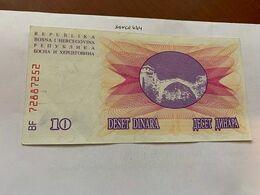 Bosnia 10 Dinara Circulated  Banknote 1992 #16 - Bosnië En Herzegovina