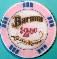 $2.50 Casino Chip. Barona, Lakeside, CA. N63. - Casino