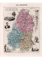 Carte Du Département Du Haut-Rhin, Dressée Par Vuillemin. Atlas Migeon 1874-76. - Carte Geographique