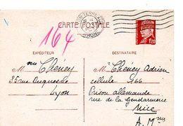 C14 1943 Interné A La Prison Allemande A NICE Pas Courant - Marcophilie (Lettres)