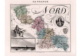 Carte Du Département Du Nord, Dressée Par Vuillemin. Atlas Migeon 1874-76. - Carte Geographique