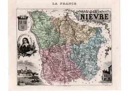 Carte Du Département De La Nièvre, Dressée Par Vuillemin. Atlas Migeon 1874-76. - Carte Geographique