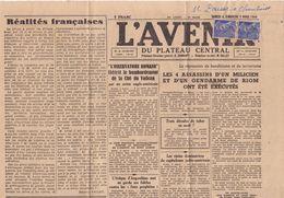 21203# MERCURE 546 PAIRE JOURNAL L' AVENIR 5 MARS 1944 Obl EBREUIL ALLIER - Marcophilie (Lettres)