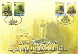 Morocco 2001 YT 1282-1283 Belgium Mi 3052-3053 FD Souvenir Card Joint Issue, Hassan II Mosque, Basilica - Morocco (1956-...)