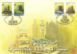 Belgium 2001 Mi 3052-3 COB 3002-3 Morocco YT 1282-3 FD Souvenir Card Joint Issue, Hassan II Mosque, Basilica - Souvenir Cards