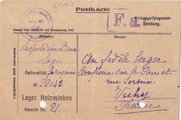 21205# ACCUSE RECEPTION PAQUET 1918 CARTE POSTALE PRISONNIER DE GUERRE WW1 LAGER HOLZMINDEN OTAGE - Marcophilie (Lettres)