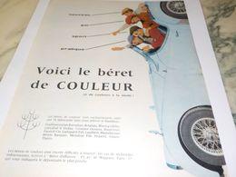 ANCIENNE PUBLICITE TOUTE LES COULEUR LE BERET  1959 - Other