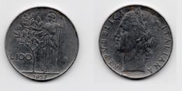 100 Lire – Italie – 1957 – Minerve – Acier – Etat TTB – KM 96.1 - 1946-… : Republic