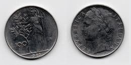 100 Lire – Italie – 1965 – Minerve – Acier – Etat TTB – KM 96.1 - 1946-… : Republic