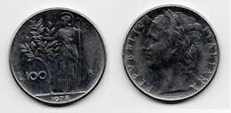 100 Lire – Italie – 1978 – Minerve – Acier – Etat TTB – KM 96.1 - 1946-… : Republic