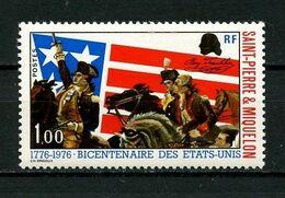 SPM MIQUELON 1976 N° 449 ** Neuf MNH Superbe C 7,50 € Indépendance Des Etats-Unis Chevaux Horses Drapeaux Animaux - Neufs