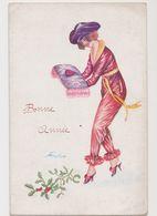 Carte Fantaisie Signée Xavier Sager /Souhaits( Pyjama) -Bonne Année - Jeune Femme Avec Un Coeur Sur Un Coussin - Sager, Xavier