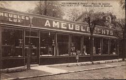 Cp Villemomble Seine Saint Denis, Place Du Marché, Meubles Lux, Magasin, Usine Et Ateliers - Francia