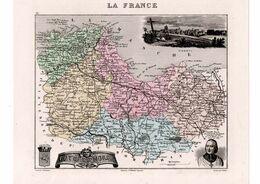 Carte Du Département Des Côtes Du Nord, Dressée Par Vuillemin. Atlas Migeon 1874-76. - Carte Geographique
