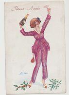 Carte Fantaisie Signée Xavier Sager / Souhaits (pyjama).Jeune Femme Avec Une Coupe Et Une Bouteille De Champagne - Sager, Xavier