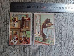 2 Images  Chromos Publicitaires Billaudel Aux Caves Françaises Vins Rue De La Gaffe Le Havre Ours Chat Cuisine Chromo - Old Paper