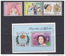 Liberia 1977 Silver Jubilee 3v + M/s Used (49383) - Liberia