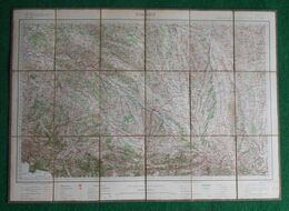 Carte Géographique Toilée Nommée Tarbes - Saubusse - Lupiac - Forêt D'Iraty - Bagnères De Bigorre - Carte Geographique