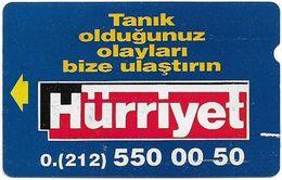 Turkey - TT - Alcatel - R Advert. Series - Hurriyet Lider Gazete, R-15, 100U, 1994, Used - Turquie